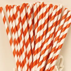 BOLD ORANGE Striped Paper Straws