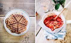 waffles with vanilla rhubarb strawberry sauce