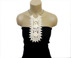 Crochet Necklace- FREE SHIPPING-Handmade Cotton Crochet Lace Collar- Cream collar- Crochet collar- Woman Accessories-Woman Applique-OOAK
