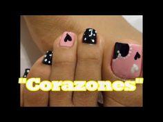 """""""Corazones"""" Decoración de Uñas para los Pies /Heart Easy toe nail art"""