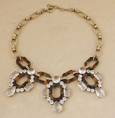 Tortoise Crystal Link Flower Necklace Floral Cluster Bib Statement Charm Necklace Wedding Birthday Bridesmaid Jewelry Bridal Party Necklace on Etsy, $32.99