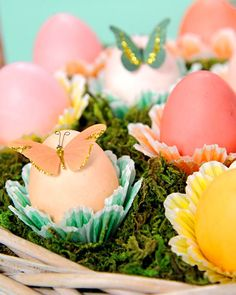 Add a creative twist to traditional dyed eggs by filling them with holiday surprises, like small toys, as a fun gift for your guests.