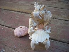 OOAK MiNiATuRe MeRMAiD CHAiR HaNDCRaFTeD WiTH SeA SHeLLs aND SeA LiFe. $12.00, via Etsy.