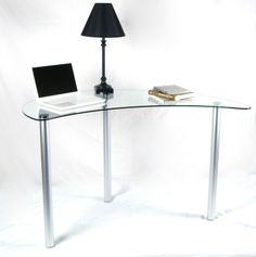 18527e9c44d Tier One Designs Clear Glass Corner Computer Desk T 1 D 121