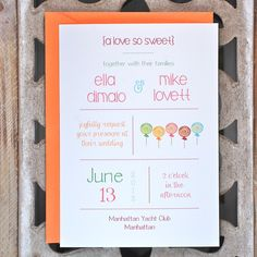 Candy Wedding Invitations . Candy Theme by SweetBellaStationery