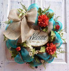 Summer Wreath Fall Wreath Burlap Mesh Wreath by JennaBelles by helene Wreath Crafts, Diy Wreath, Burlap Wreath, Wreath Ideas, Diy Spring Wreath, Holiday Wreaths, Welcome Wreath, Deco Mesh Wreaths, Door Wreaths
