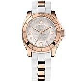 $115 Tommy Hilfiger Watch, Women's Sport Rose Gold-Tone Stainless Steel and White Silicone Strap 38mm 1781305