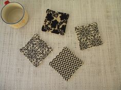 Coasters set of 4 fabric coasters modern prints by LiveLaughSew, $5.00