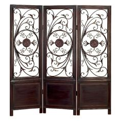 Aspire Home Accents Room Divider with Elegant Metal Designs | from hayneedle.com