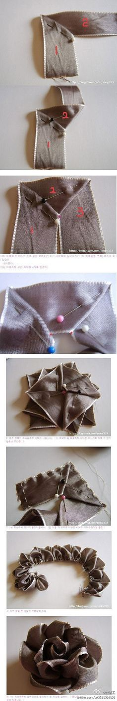 ribbon rose pictorial how-to