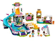 LEGO Friends - Heartlake Summer Pool and thousands more of the very best toys at Fat Brain Toys. Build a beautiful pool resort with a big slide, a hot tub, a changing room, and a swim-up juice stand! Dive off of the spring-loa. Legos, Lego Friends Sets, Friends 2017, Lego Girls, Girls Toys, Swim Up Bar, Buy Lego, Lego Lego, Lego Batman