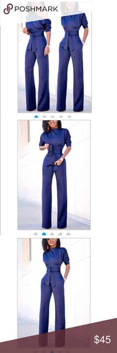 New** Trendy Fashion Jumpsuit Euramerican Navy Blue Knitting One-piece Jumpsuit. Perfect for date night or a semi-formal occasion. Pants Jumpsuits & Rompers
