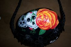 "Sharon's  ""Skull rose""  gourd purse."