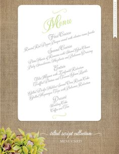 Wedding Menu Card - Tilted Script Wedding Collection - Custom Dinner Menu Card - Personalize for your wedding. $15.00, via Etsy.
