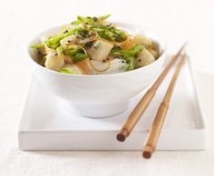 Rice Noodles with Snow Peas, Scallops and Sweet Coconut Miso Sauce