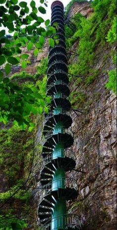 300 foot staircase along a mountain face in Taihang mountains, Linzou, China. Woah, vertigo!
