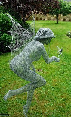 """""""Mother Sprite"""" Chicken Wire Art  by Derek Kinzett  Maybe chicken wire wings for a costume idea."""