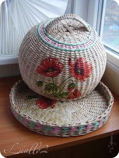 Поделка изделие Плетение Хлебницы и   Трубочки бумажные фото 1