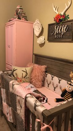 Baby girl room- antlers, deer, flowers, pink and grey nursery