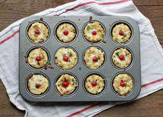47 (Meatless!) Breakfast-for-Dinner Recipes |Mini Margherita Quinoa Frittatas (with Cherry Tomatoes, Fresh Basil, and Mozzarella)