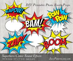 DIY Superhero Sound Effects printable photo booth props comic book style speech bubbles PP003 instant download