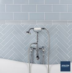 Scandia Crackle Finish Subway Tile shown in the Stellar Blue color | Available at Avalon Flooring | Starting at $14.18/square foot | #subwaytile #bathroomtile #walltile #bathroomdesign