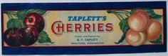 TAPLETT'S Vintage Wenatchee Washington Cherry Crate Label