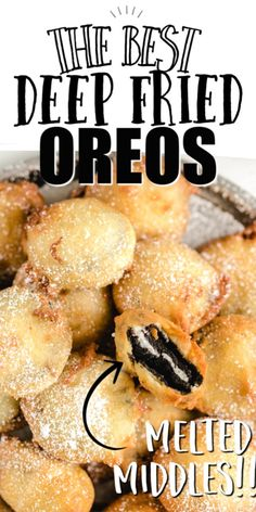 This Deep-fried Oreos recipe delivers a delicious gooey bite that is a perfect copycat of the coveted carnival treat Easy to make with pancake mix an egg and milk these fluffy bite-sized treats are sure to be a blue ribbon winner at home Deep Fried Desserts, Deep Fried Oreos, Deep Fried Recipes, Deep Fried Foods, Cupcakes Oreo, Oreo Cake, Oreo Cheesecake, Fried Oreos Recipe, State Fair Food