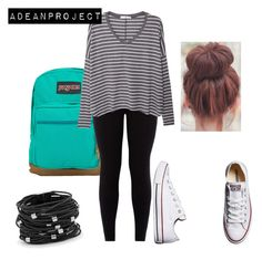 """""""School Vibes"""" by twochainzfoever on Polyvore featuring Converse, JanSport, MANGO and Chico's"""
