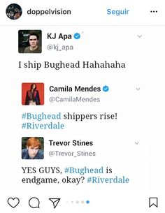 W O W . Can we just realize and enjoy the fact that literally all the cast ships #bughead and thinks is endgame(even though it is) forever please?.