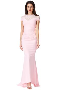 Pleated Maxi Dress with Lace Detail - Pink - Front - DR1124 Lace Evening  Dresses d7bda79ed