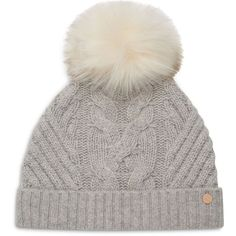 Ted Baker Lisabet Beanie with Pom-Pom (935 EGP) ❤ liked on Polyvore featuring accessories, hats, grey, straw hat, gray beanie hat, beanie cap hat, beanie cap and grey beanie hat