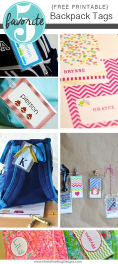 Free Printable Backpack Tags | Friday Favorite 5
