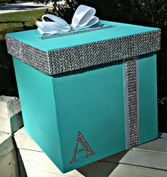 Balloon Box, Tiffany Party, Paris Party, Birthday Box, Party Needs, Gift Table, Gift Baskets, Initials, Easy Diy