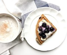 Healthy breakfast with ricotta and blueberry waffles and a tea latte from honestly nutrition. Blueberry Waffles, Tea Latte, Ricotta, Nutrition, Breakfast, Healthy, Instagram, Food, Meal