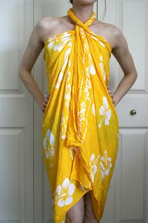 DIY: No-sew Beach Cover - Instructions for several different ways to tie a giant scarf into a cover up and/or bag to carry your book and sunscreen in.