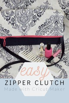 DIY Zippered Clutch With Cricut Maker - Chambray Blues Sewing Sewing Blogs, Easy Sewing Projects, Sewing Hacks, Sewing Tutorials, Diy Clutch, Clutch Bag, Clutch Pattern, Simplicity Sewing Patterns, Love Sewing