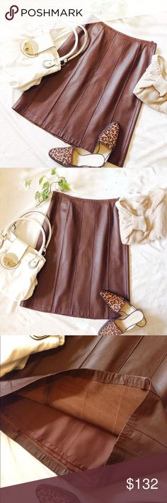 NWOT Doncaster Chestnut Leather Skirt New without tag. 100% Leather. Fully lined. Zipper and button closure. Piping makes this an exceptionally beautiful and flattering leather skirt. Very soft supple smooth grain leather. Measurements upon request. Doncaster Skirts A-Line or Full