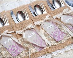 Crafting Ideas & Projects - Get Craft Inspiration From Fiskars! Wedding Wishes, Diy Wedding, Wedding Ideas, Wedding Stuff, Burlap Silverware Holder, Southern Chic Weddings, Burlap Lace, Utensil Holder, Wedding Table Settings
