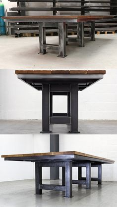 The Grand Artisan Table - impressive industrial style table with solid, chunky steel legs. The focal point of any contempary living or work space.