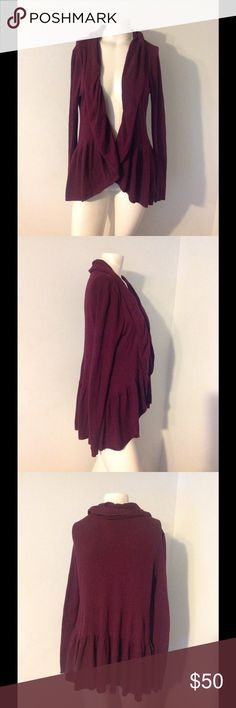 Anthro Guinevere Hangs Open Ruffle Cardi Sweater Beautiful Antho cardio sweater. Maroon cotton/nylon/cashmere blend in size Small. Great condition. Anthropologie Sweaters Cardigans