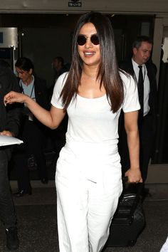Priyanka Chopra Travel Outfit LAX Airport in Los Angeles 05/08/2017