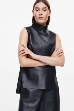 COS image 2 of Sleeveless leather top in Navy