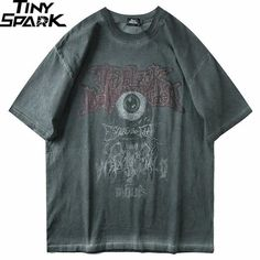 T-shirt Color:Grey Pattern:Screen Print Material: Cotton Size info: CM M: L: XL: Dear customer: Please allow measurement differ due to manual making. Grunge Outfits, Fashion Outfits, Streetwear, Harajuku, Swaggy Outfits, Cheap T Shirts, Look Cool, Aesthetic Clothes, Pretty Outfits