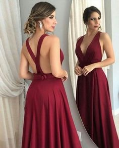 Sexy Satin Burgundy Evening Dresses Long 2019 Evening Party Gown Open Back Robe De Soiree Women Long Dress Evening Elegant Pageant Dresses For Teens, Open Back Prom Dresses, Backless Prom Dresses, A Line Prom Dresses, Formal Dresses For Women, Formal Evening Dresses, Dress Prom, Prom Gowns, Dress Long