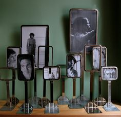 Photo frames made from vintage retail store price markers... some from butcher shops.