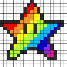 Rainbow Star Perler Bead Pattern | Bead Sprites | Misc Fuse Bead Patterns