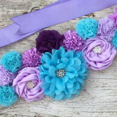 Shabby Chic Aqua Mint and Lavender Maternity por LaBandeauxBowtique Mermaid Baby Showers, Baby Mermaid, Color Lavanda, Maternity Belt, Newborn Beanie, Shabby Chic, Home Outfit, Belly Bands, Newborn Photo Props