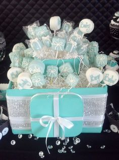 Tiffany & co themed wedding. Bling Cake Pop/ Candy station Treat Box With Pearls by SlimCrafts