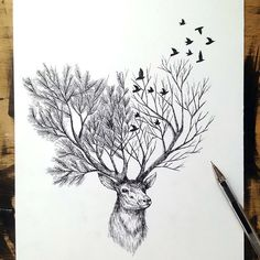 The best deer with horns like tree's branches. Color: Black. Tags: Best, Beautiful, Awesome, Great